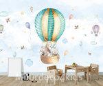 Luchtballon met dieren behang