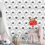 Zwart wit Beertjes fotobehang With Love
