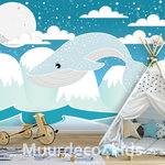 Blauwe walvis fotobehang kinderkamer