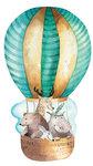 Luchtballon met dieren muursticker XXL