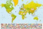 Wereldkaart fotobehang XL incl vlaggen