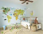 Wereldkaart met dieren behang