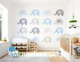 Babykamer vlies behang Blauwe Olifantjes XL