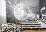 Maan op Beton behang zwart-wit