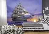 Zeilschip fotobehang Ondergaande zon