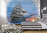Zeilschip fotobehang Op Hout