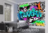 Voetbal Graffiti fotobehang BLAUW