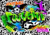 Voetbal Graffiti fotobehang GROEN