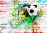 Voetbal op muur I Graffiti vliesbehang