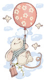 Muis aan ballon muurstickers XXL
