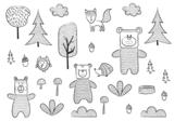 Dieren in het bos fotobehang zwart wit