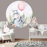 Behangcirkel Nijlpaardje met ballon