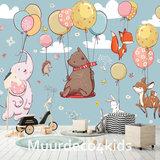 Dieren aan ballonnen behang