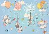 Muis aan ballon behang