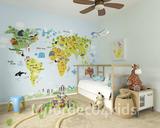 wereldkaart behang met dieren