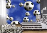 Voetbal behang blauw