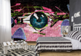 graffiti behang oog