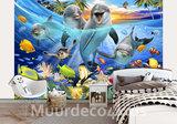 onderwater behang sealife dolfijnen