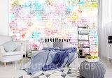 Stenen muur behang lichte kleuren
