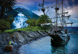Piraten fotobehang Piratenschip Blauw