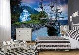 Piraten behang Piratenschip Blauw