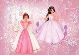 Prinsessen behang roze