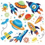 Ruimtevaart muurstickers Super Space Explorer