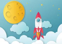 Raket en Maan behang kinderkamer