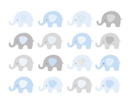 Babykamer behang Blauwe Olifantjes L