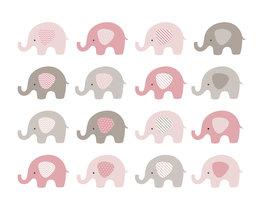 Babykamer behang Roze Olifantjes L