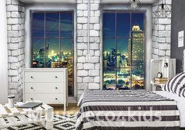 Baksteen fotobehang met ramen