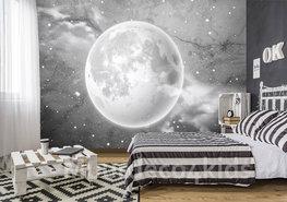 Maan op Beton fotobehang zwart-wit