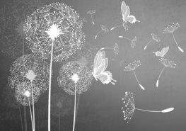 Paardenbloem en vlinder fotobehang