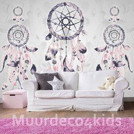 Dromenvanger behang Licht grijs en roze