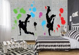 Beton fotobehang Breakdance