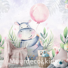Nijlpaard fotobehang kinderkamer