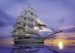 Zeilschip behang Ondergaande zon
