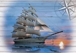 Zeilschip op hout fotobehang