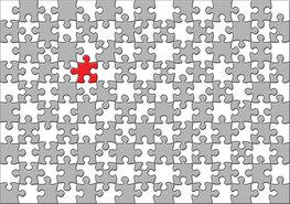 Puzzel behang grijs wit rood