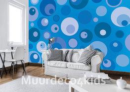 Retro behang Cirkels Blauw
