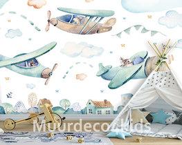 Vliegtuigen behang kinderkamer