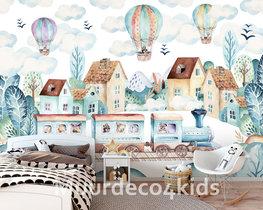 Trein en luchtballon behang kinderkamer