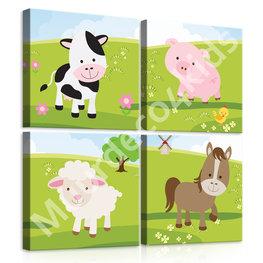 Boerderij dieren canvas set 4-dl