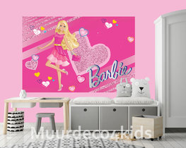 Barbie behang Pink Heart V2