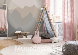 Gekleurde bergen behang Beige