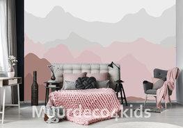 Gekleurde bergen behang Roze
