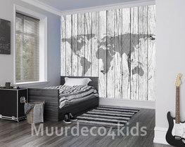 Wereldkaart op hout behang