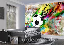 Voetbal op muur II Graffiti fotobehang