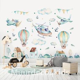 Luchtballon en Vliegtuigen muurstickers XXL
