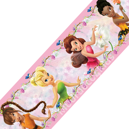 Disney Fairies behangrand Roze